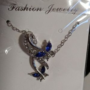 New butterfly necklace blue with rhinestones